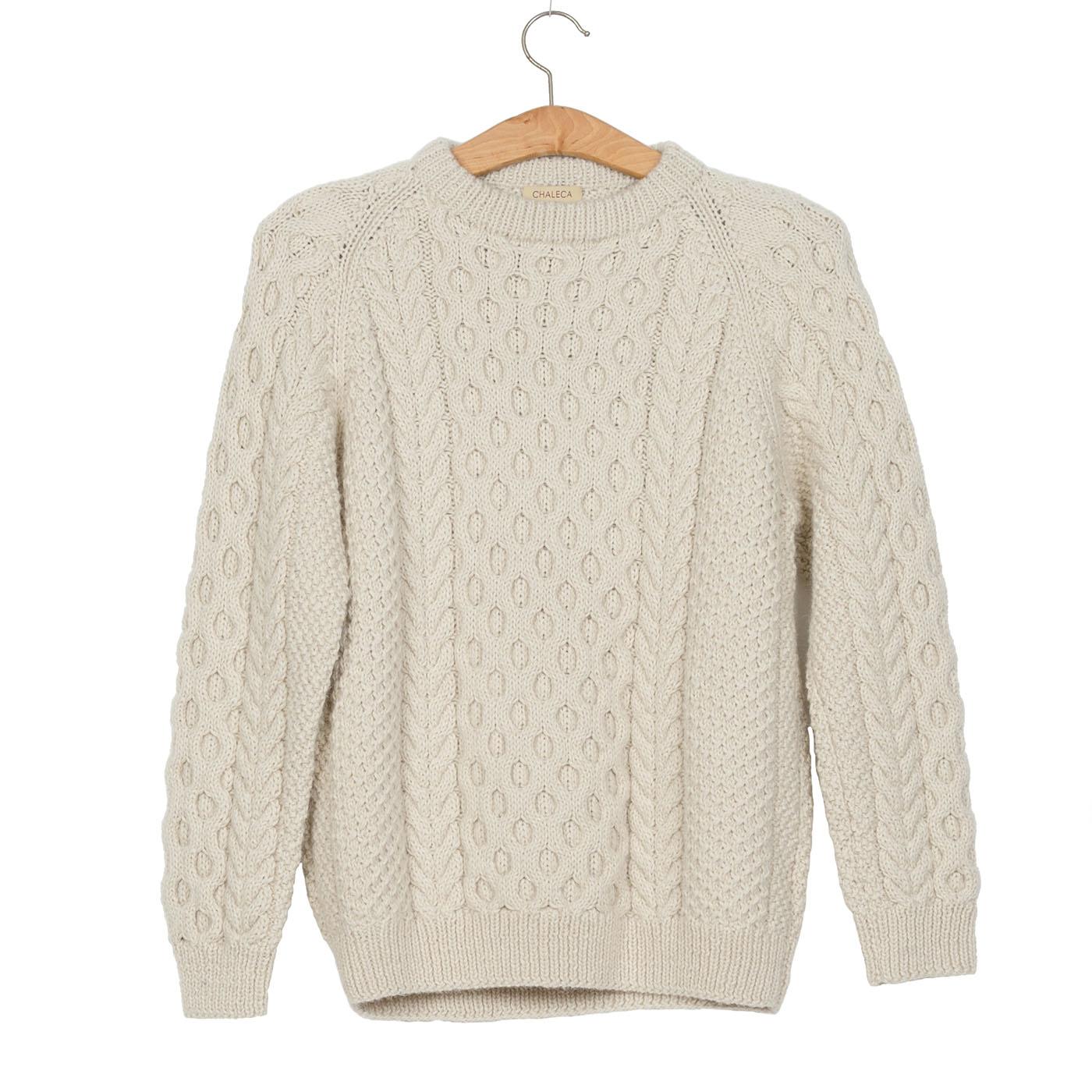 Tormenta Cable Knit Aran Sweater Natural White
